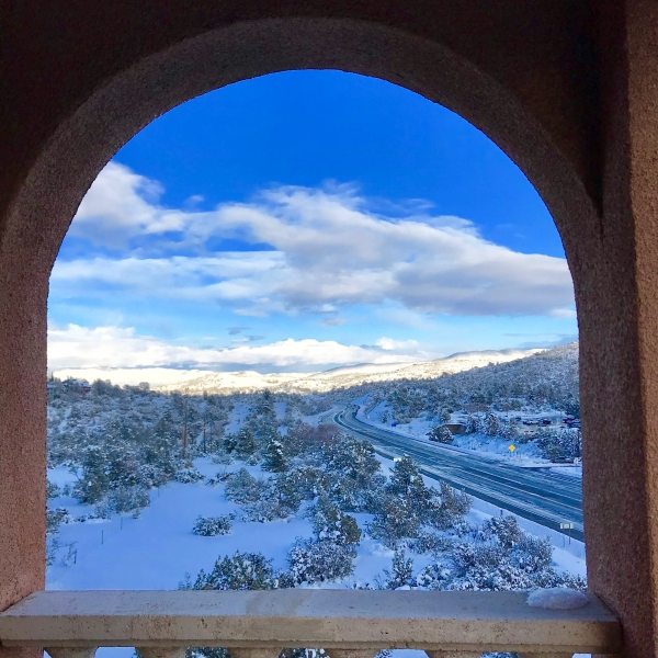 Snow at Forest Villas Hotel in Prescott, Arizona